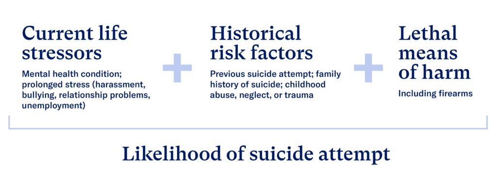 These factors increase the likelihood of a suicide attempt: Current life stressors (mental health condition; prolonged stress) + historical risk factors (previous suicide attempt; family history of suicide; childhoold abuse, neglect, or trauma) + lethal means of harm (including firearms)